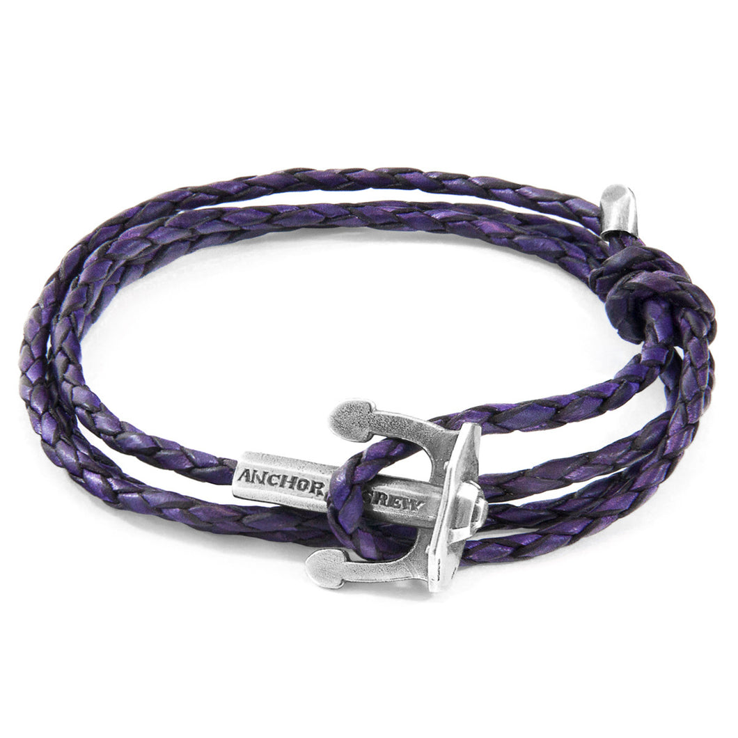 ANCHOR & CREW - GRAPE PURPLE UNION SILVER & LEATHER BRACELET