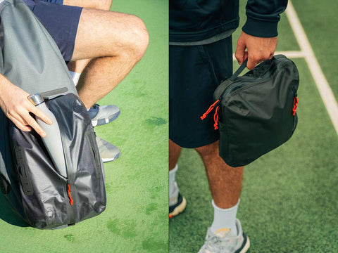 Cancha day bag and wet-dry bag on tennis court