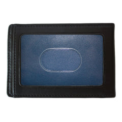 Collins Calf Rock Solid RFID Two Fold Money Clip in Black w/ cool blue