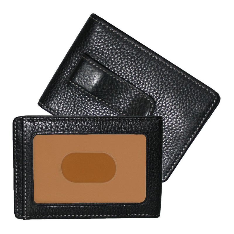 Tyler Tumbled Rock Solid RFID Two Fold Money Clip in Black w/ terra cotta