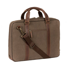 Bryant LTE Zip Top Handle Breif Bag in Heather Brown