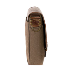 Bryant LTE Slim Double Buckle Messenger in Heather Brown