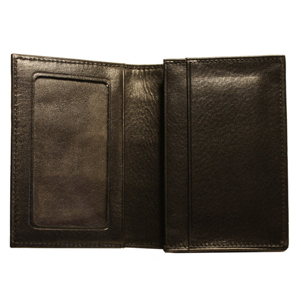 Alligator Gusseted Card Case Wallet in Black