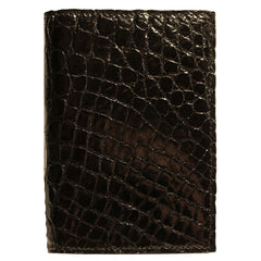 Crocodile Skin Gusseted Card Case in Black