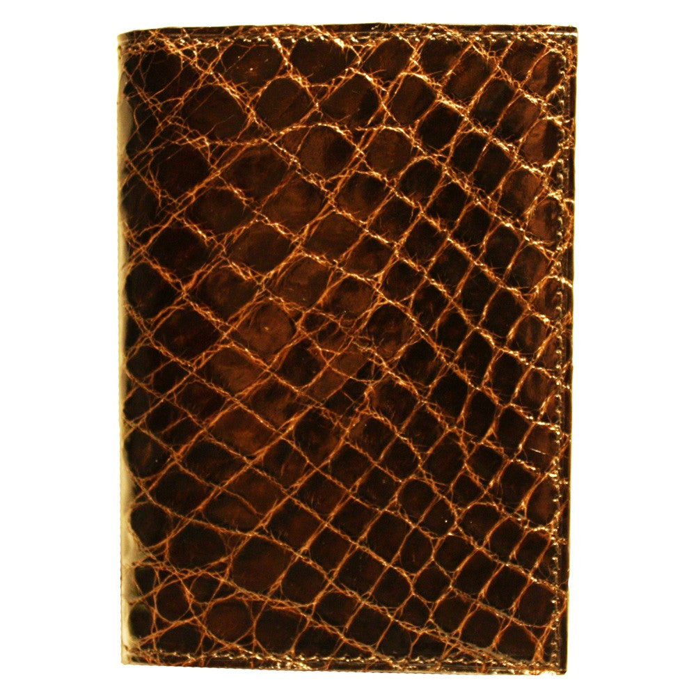 Crocodile Gusseted Card Case in Brown