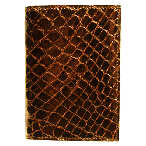 Crocodile Skin Gusseted Card Case in Brown