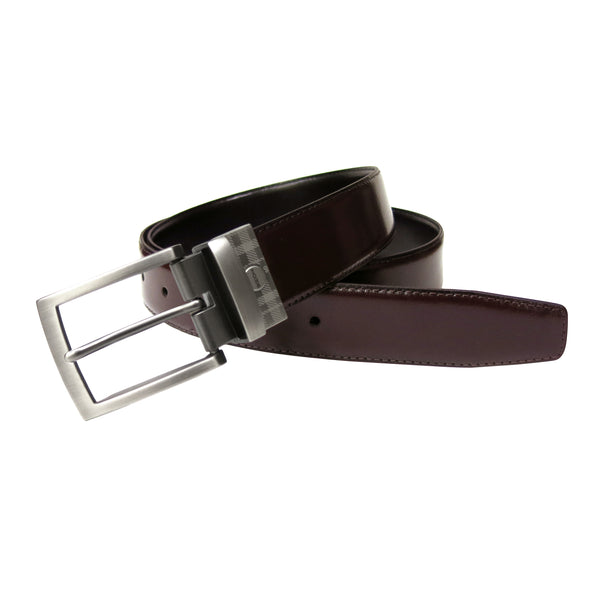 McCartney Reversible Belt in Burgundy/Black