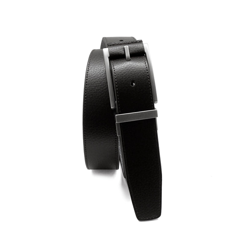 Caleb Reversible Belt in Black/Chambray
