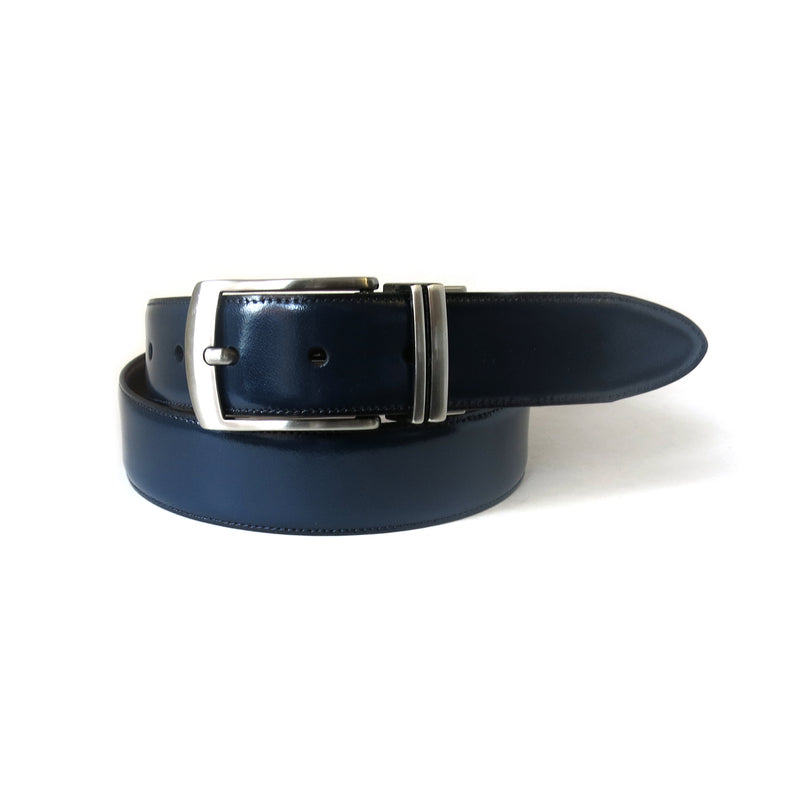 Mason Reversible Belt in Navy/Tan
