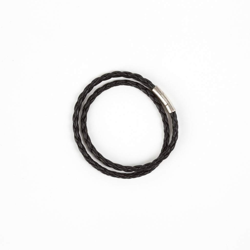 Leather Wrap Bracelet in Black Bryant