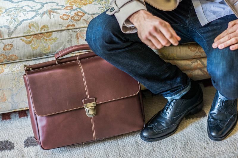 Bryant Dowel Rod Leather Briefcase