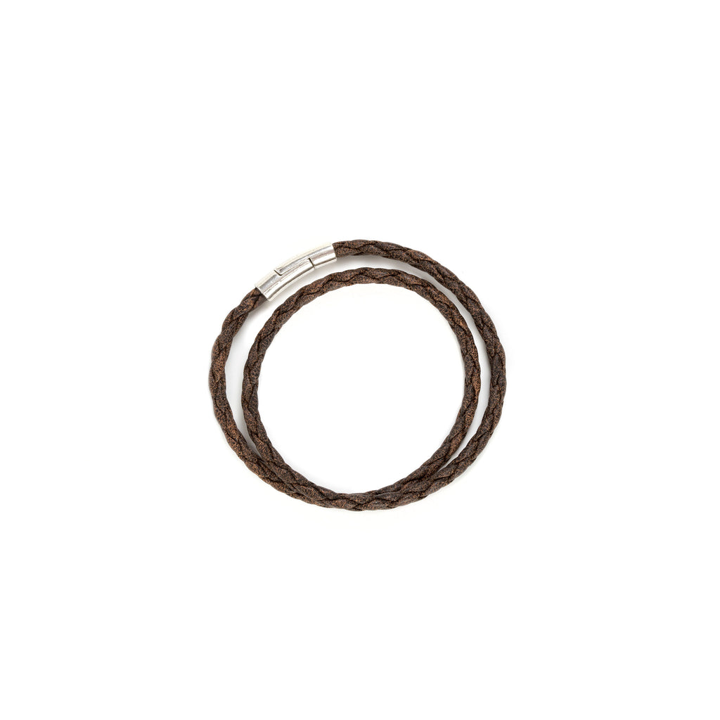 Leather Wrap Bracelet in Brown Hendrix