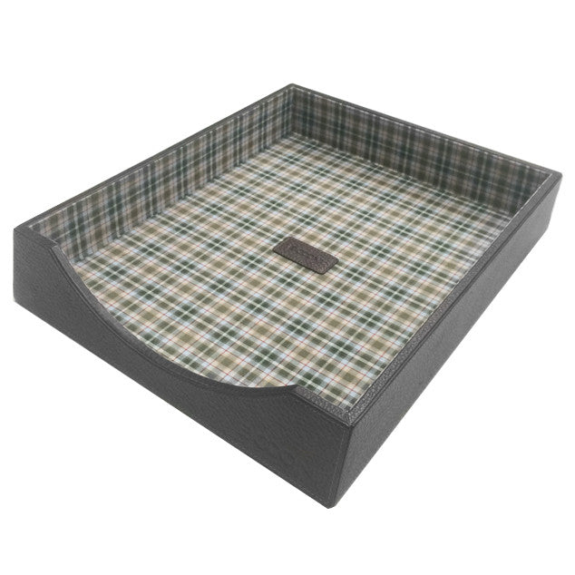 Tyler Tumbled Letter Tray in Black w/ Plaid