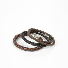 Leather Bracelet in Cognac Bastian