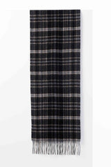 Cashmere/Wool Scarf - Tyler Plaid in Black/Espresso/Gray