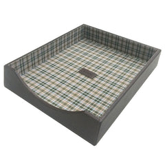 Tyler Tumbled Letter Tray in Coffee w/ Plaid