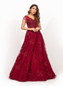Maroon Beadwork Gown SS025