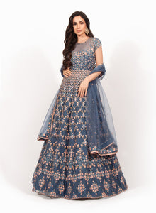 Blue and Pink Beadwork Gown VDS004