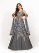 Blue and Grey Beadwork Gown VDS007
