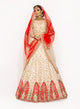 Ivory and Red Threadwork Lehenga SS031