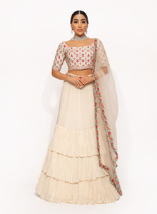 White Threadwork Lehenga SS003