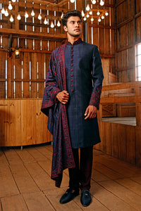 Blue  Threadwork Sherwani & Dupatta (Maroon Churidar)