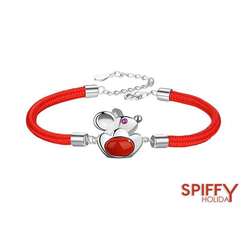 Chinese New Year Red Rope Rat Zodiac Silver Bracelet