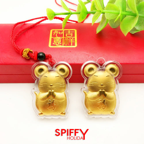 Gold Edition Chinese New Year Rat Zodiac Charm Pendant
