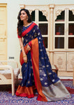 Soft Linen Saree with Silver Pallu and brocade