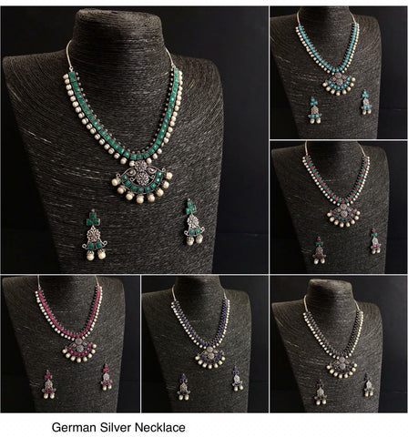 Set of Antique finish Necklace and earring with stone and pearls