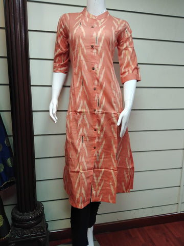 Copy of Soft Cotton Ikkat Kurti on Offer  Dhs 45