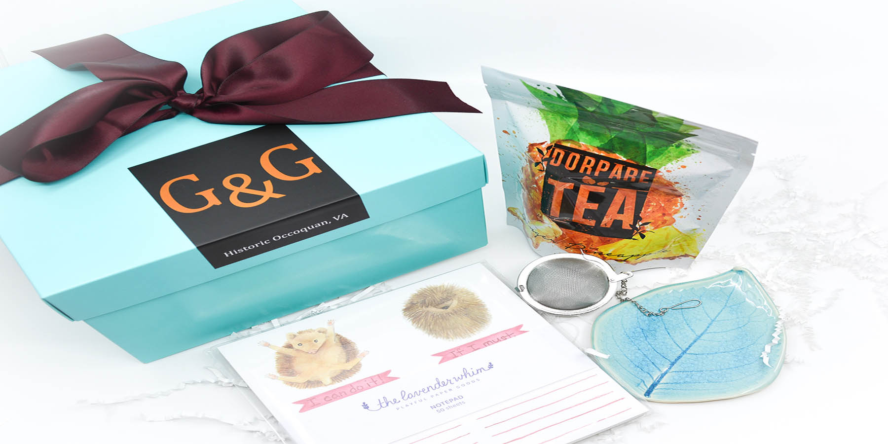 self care tea ceramic dish funny note pad gift box set