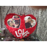 Big Fur Love Cushion With 2 Pics Inside Heart