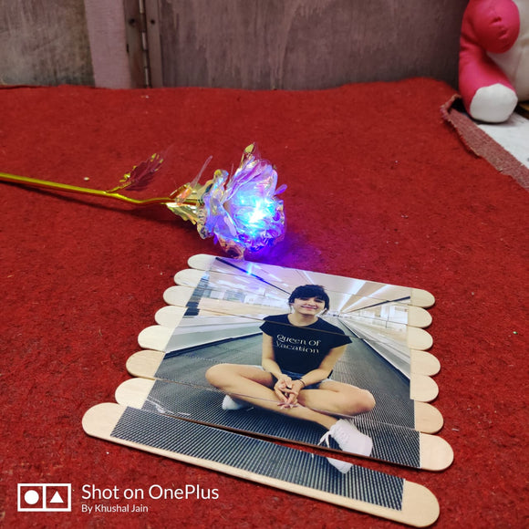 Led  Rose With  Stick Photo Puzzle