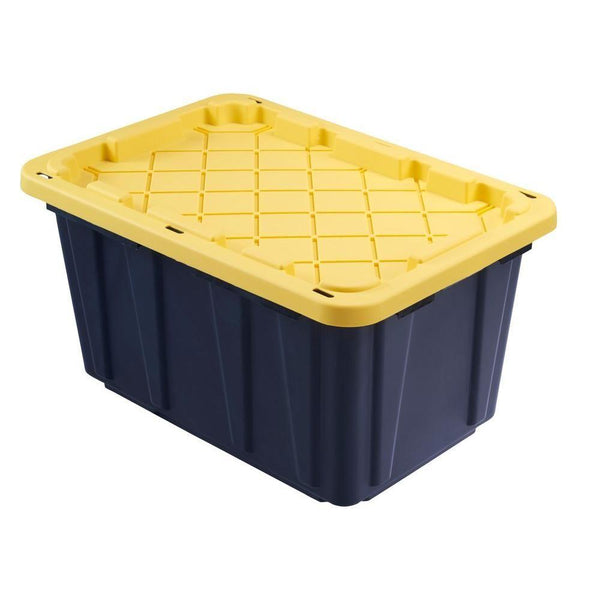 27 Gallon Storage Tote (Black box with yellow lid)