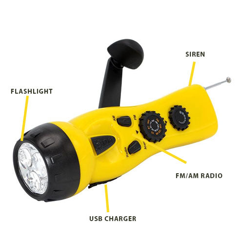 4-in-1 Dynamo Crank Flashlight + Radio + Siren + Phone Charger