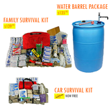 Family Survival Kit + Water Barrel Package + Car Survival Kit