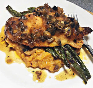 Chi-Queen Marsala with Smashed Sweet Potatoes and Garlicky Green Beans