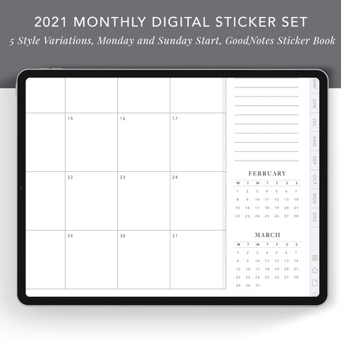 2021 Month-At-A-Glance Digital Sticker Set