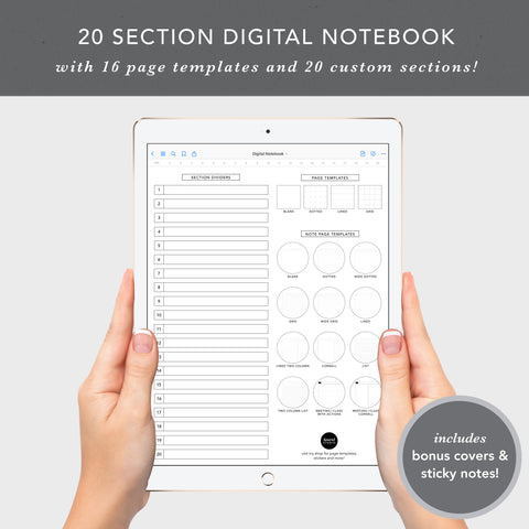20 Section Digital Notebook
