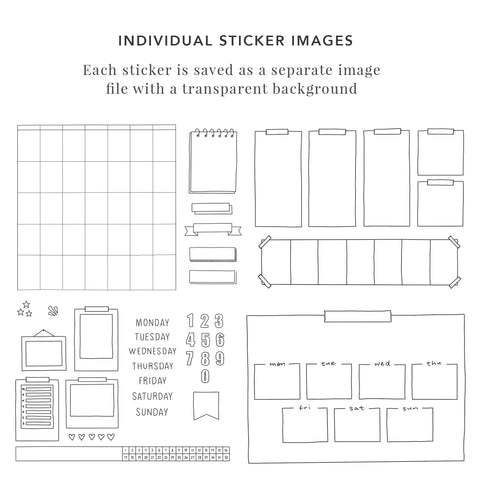 Bullet Journal Digital Sticker Set