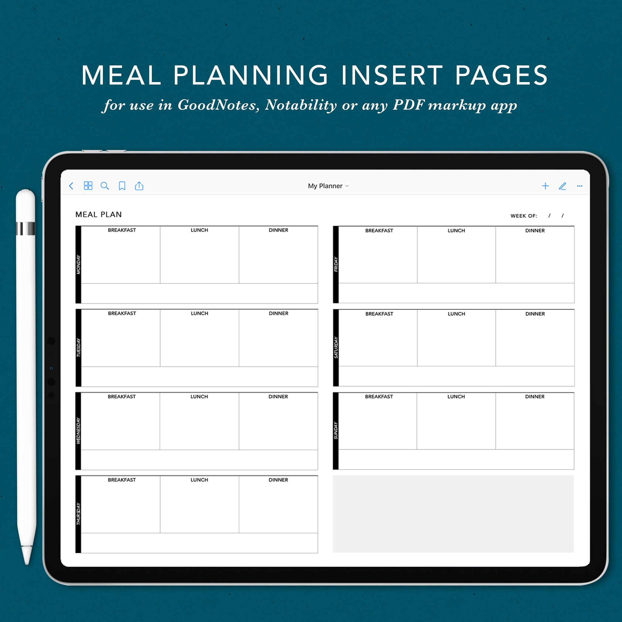 Meal Planning Insert Pages for Digital Planning