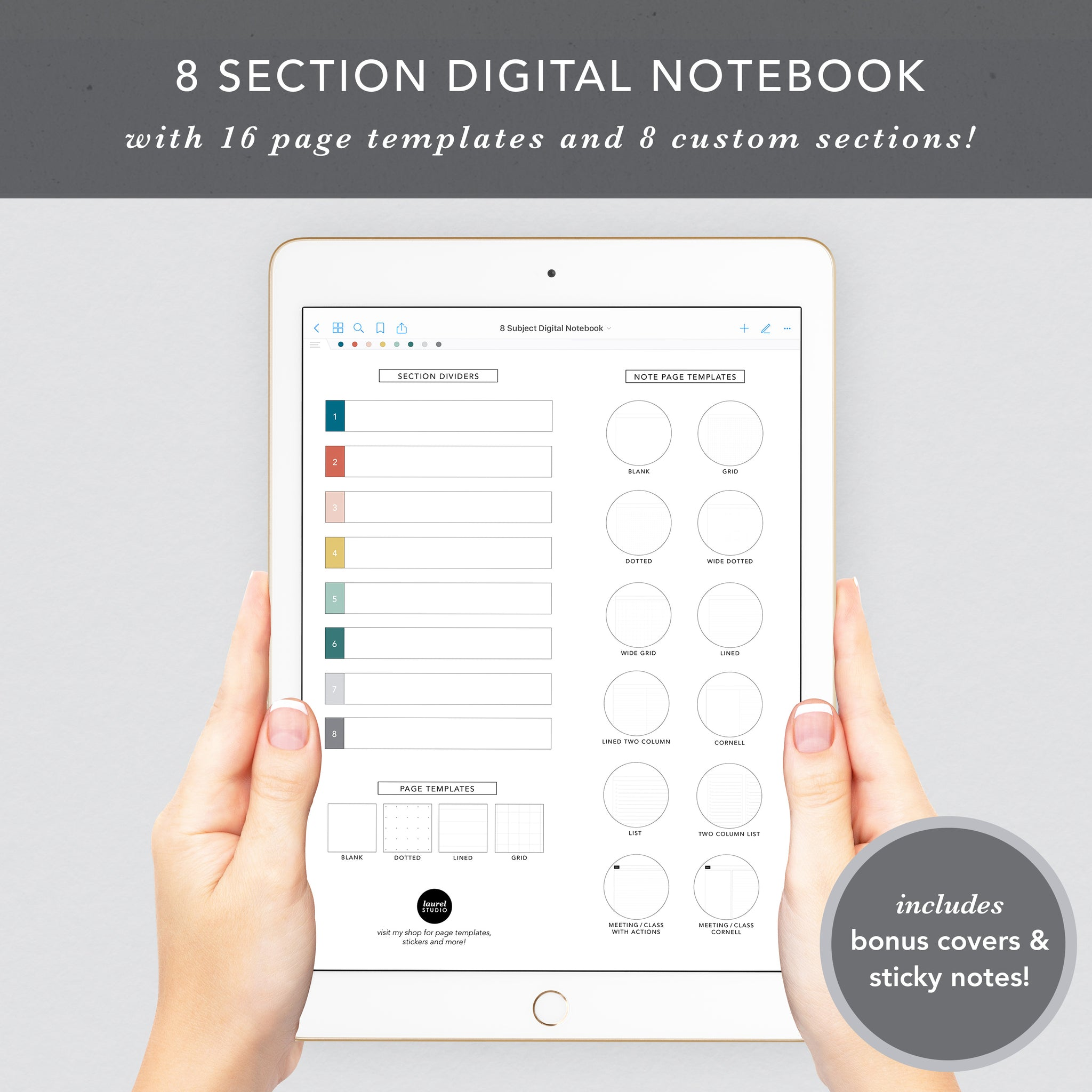 8 Section Digital Notebook