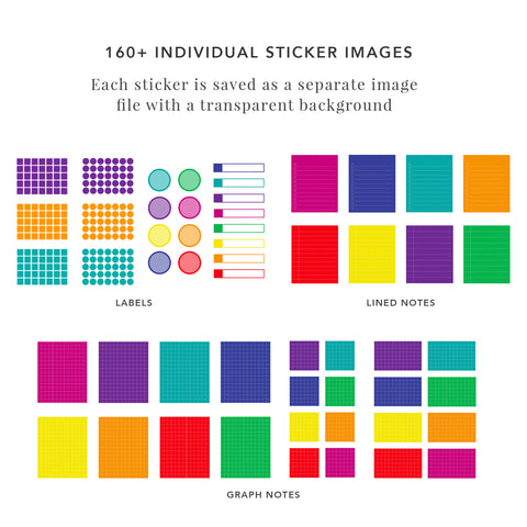 Notes and Shapes Digital Sticker Set in Neon Colors