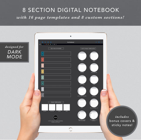 8 Section Digital Notebook (Dark Mode)