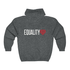 Equality Logo | Unisex Heavy Blend™ Full Zip Hooded Sweatshirt - artrockscharity | Equality Clothing Wear Your Voice | Art Beat Live