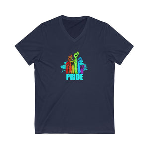PRIDE | Unisex Jersey Short Sleeve V-Neck Tee - artrockscharity | Equality Clothing Wear Your Voice | Art Beat Live