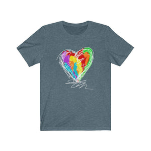 Heart Scribble Unisex Short Sleeve Tee - artrockscharity | Equality Clothing Wear Your Voice | Art Beat Live