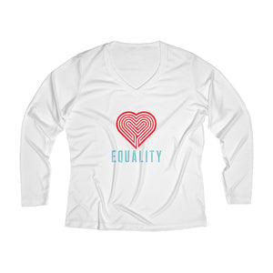 EQUALITY | Women's Long Sleeve Performance V-neck Tee - artrockscharity | Equality Clothing Wear Your Voice | Art Beat Live