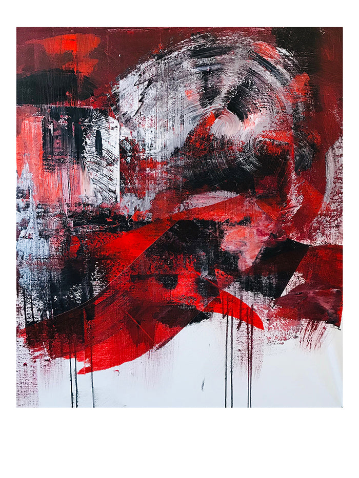 "Red/Black 1 |  Print 18"" x 24"" - artrockscharity 